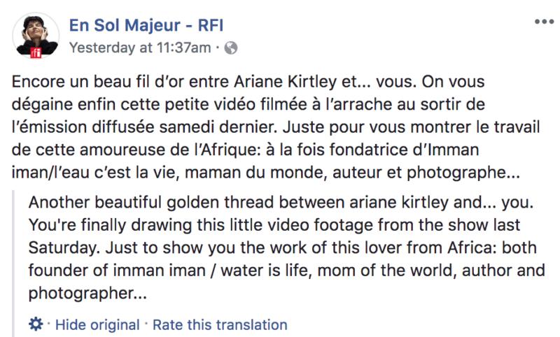 en sol majeur FB post video of Ariane
